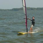 Clyde raced on his SUP in the novice class.